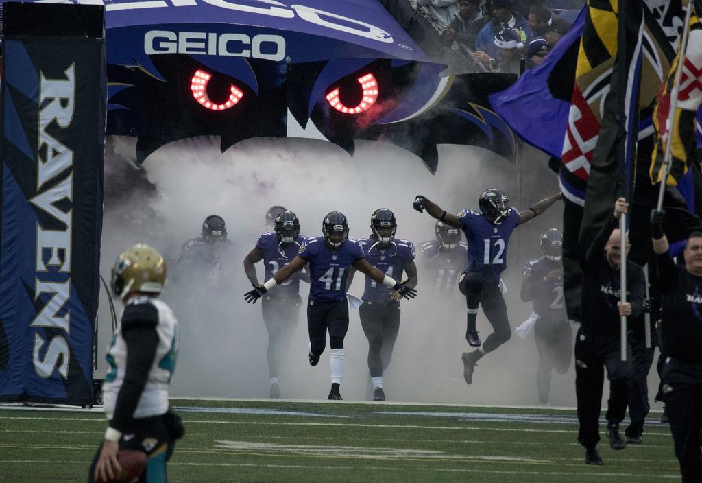 Un ingresso in campo dei Baltimore Ravens
